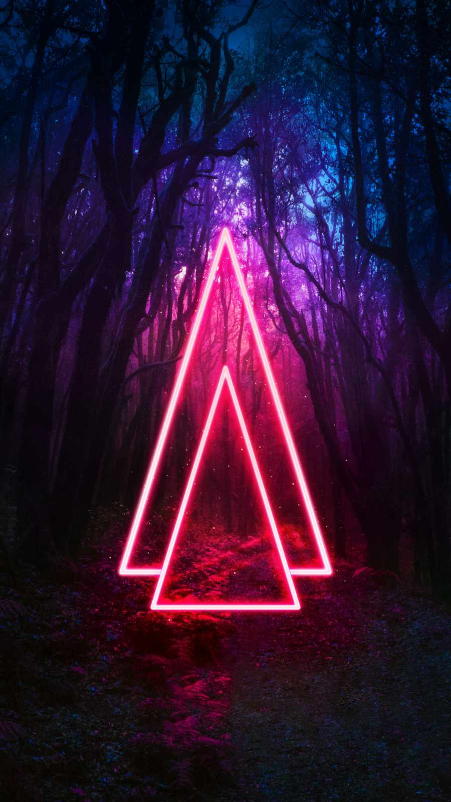 Neon Triangle in Forest