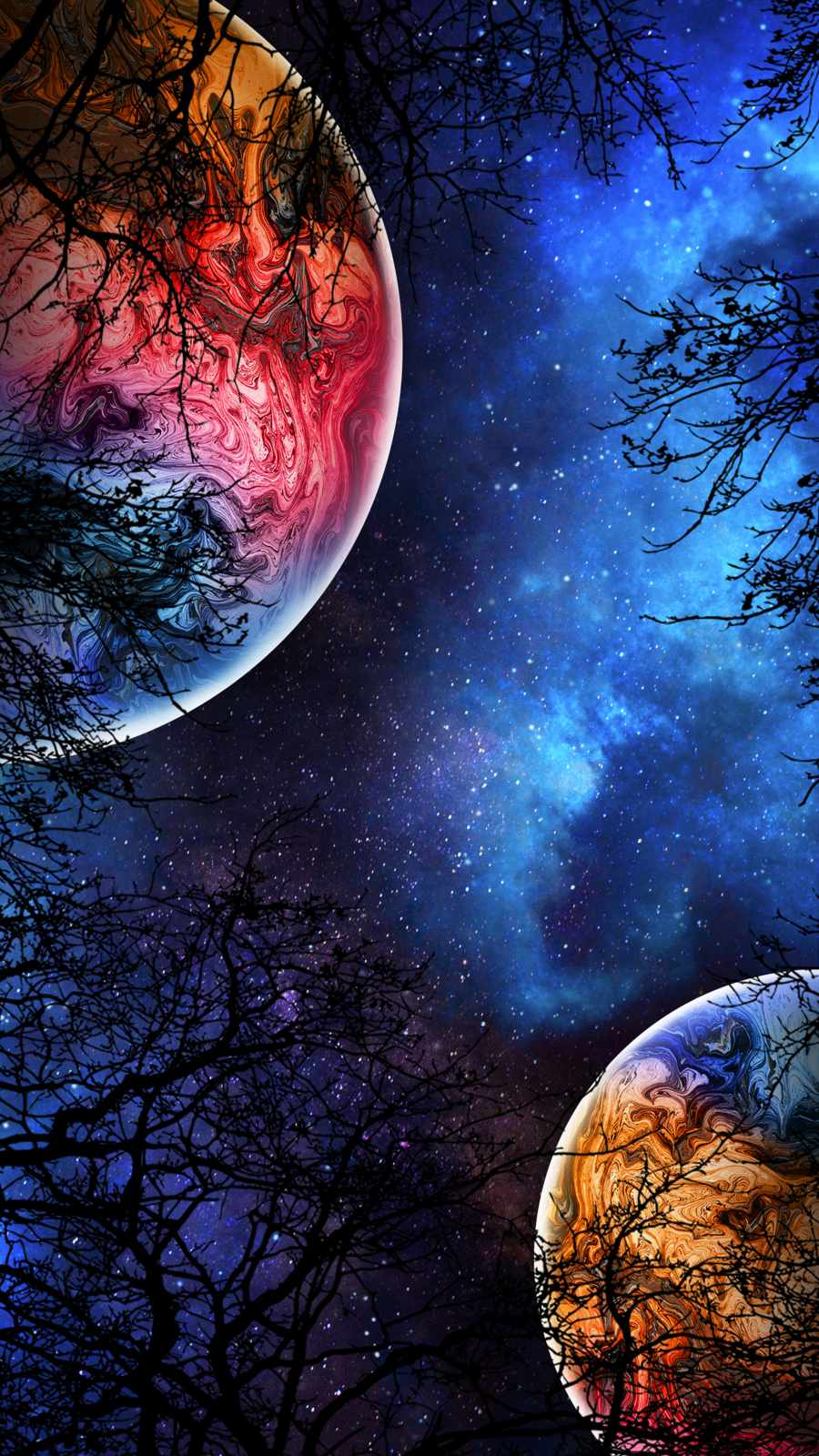 Planets Colliding iPhone Wallpaper