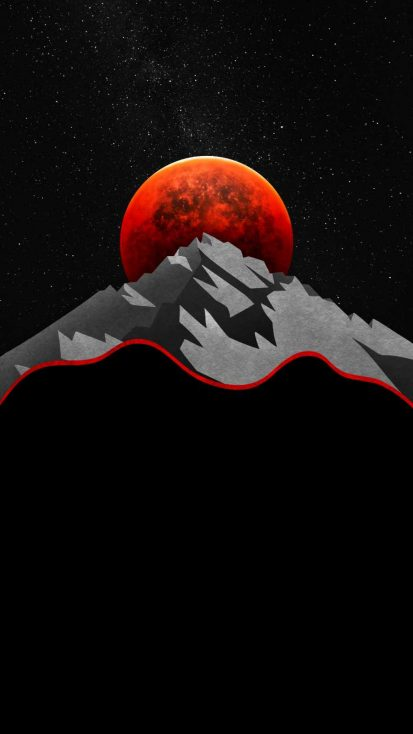 Red Moon Mountain iPhone Wallpaper