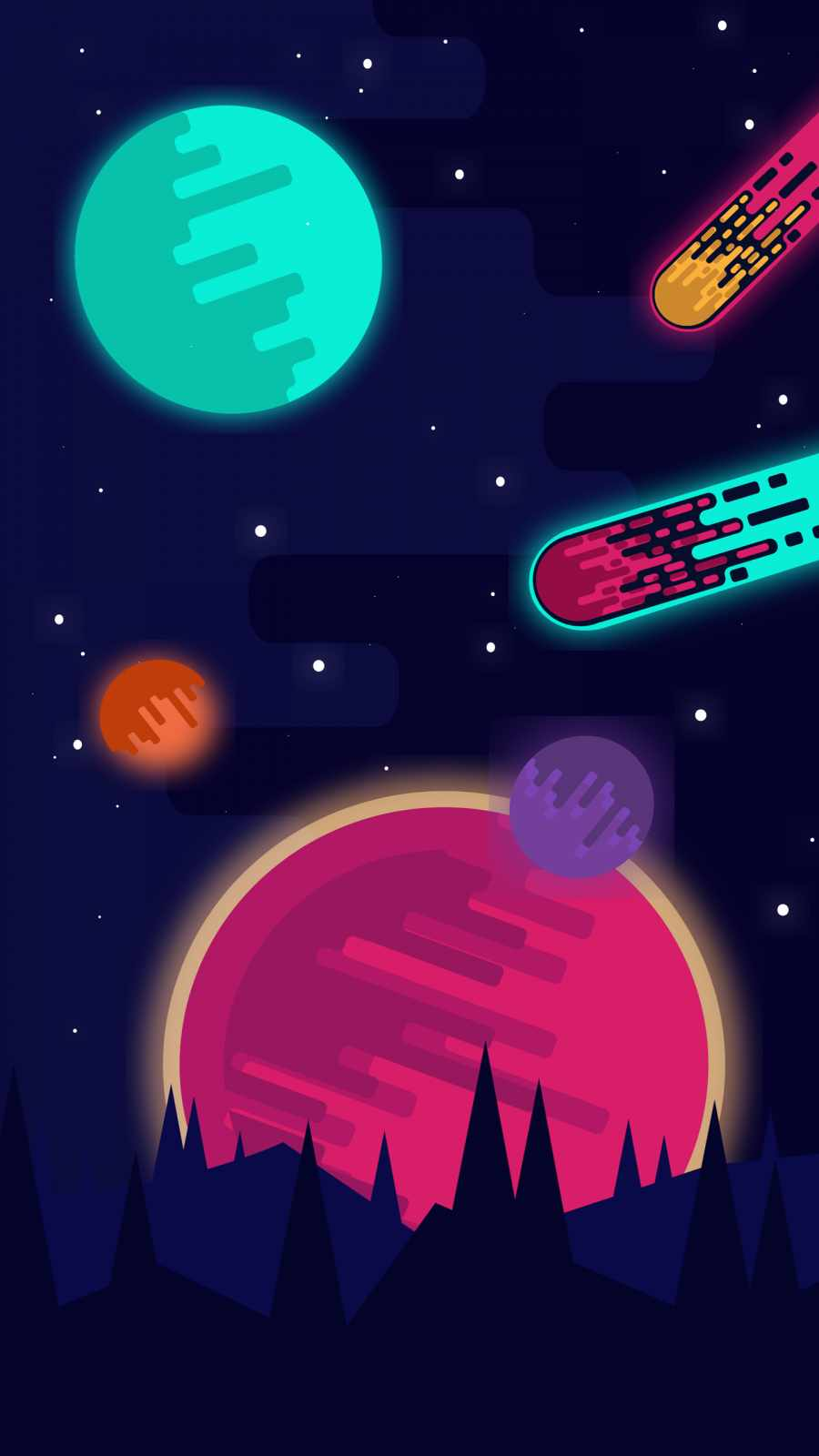Retro meteor iPhone Wallpaper