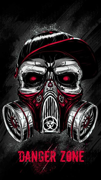 Skull Toxic Mask iPhone Wallpaper