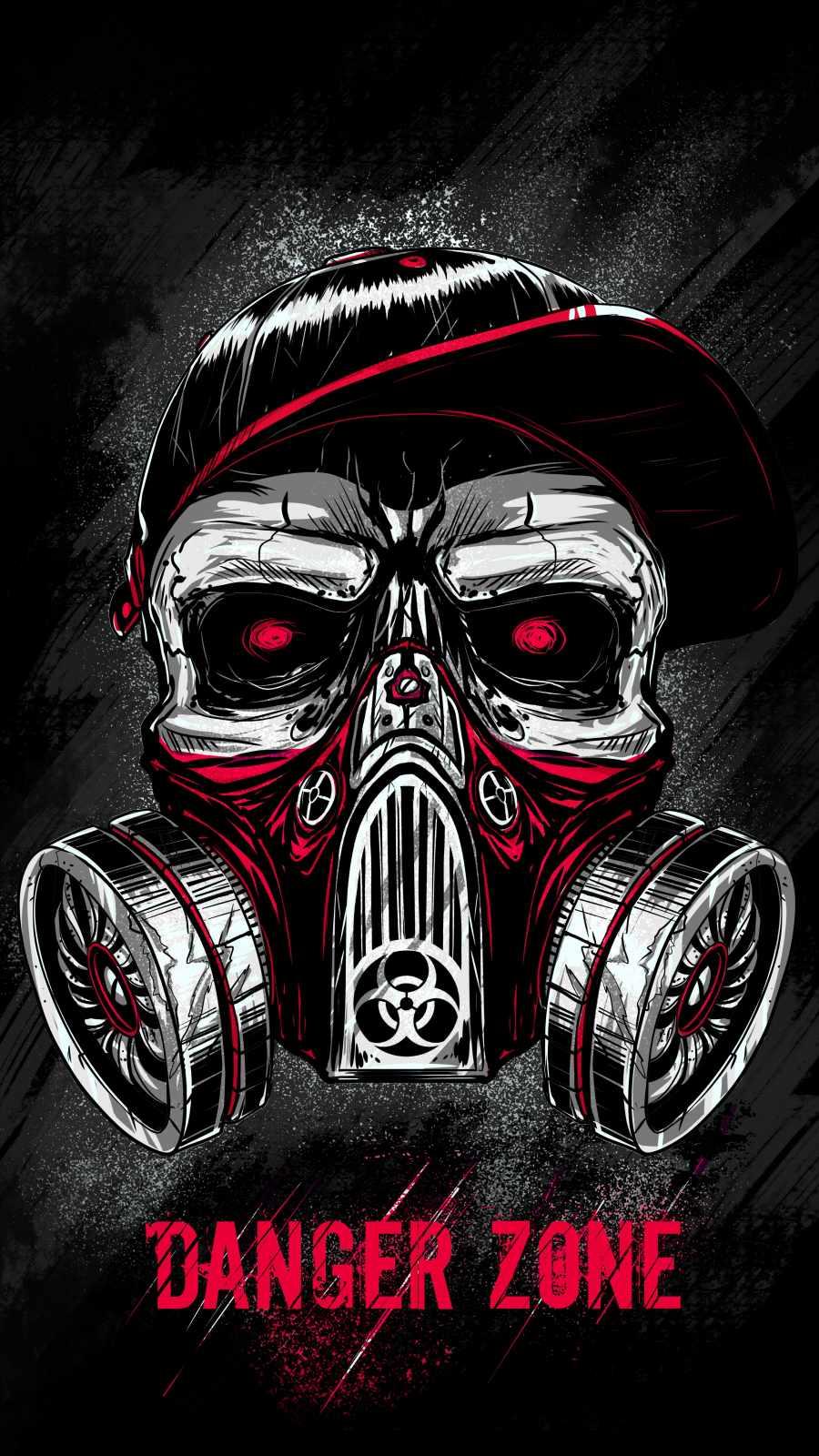 Skull Toxic Mask iPhone Wallpaper