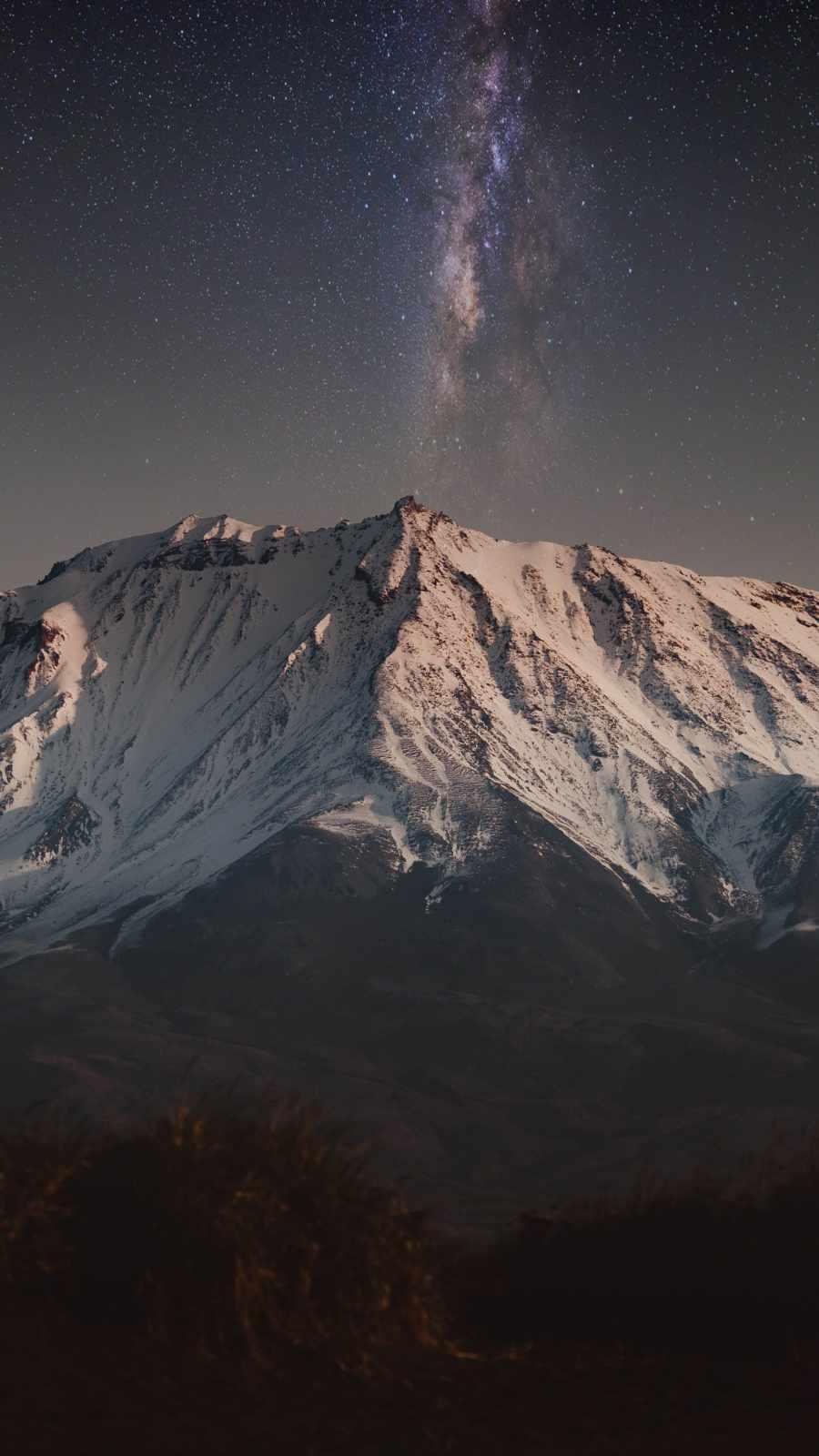 Snow Mountain Galaxy View Sky