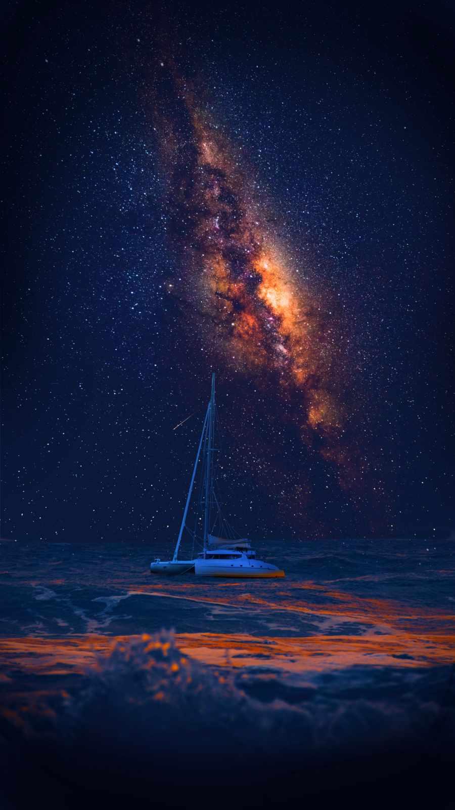 Space Ocean Yacht iPhone Wallpaper