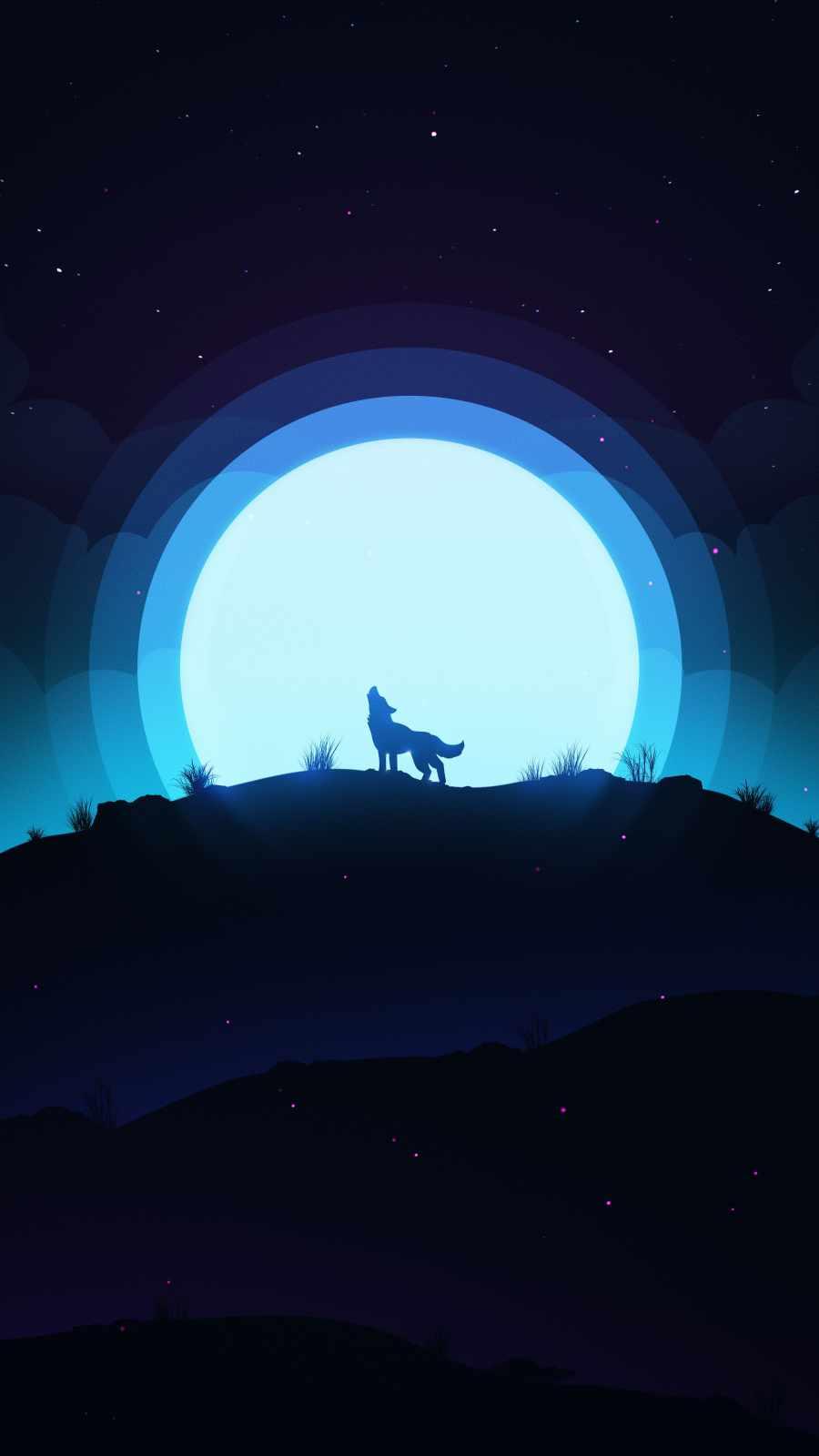 Wolf Howl Minimal iPhone Wallpaper