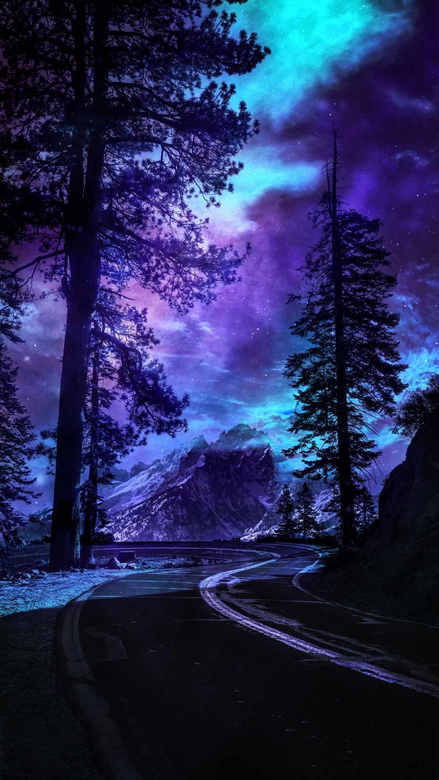 Yosemite National Park Road Night Sky