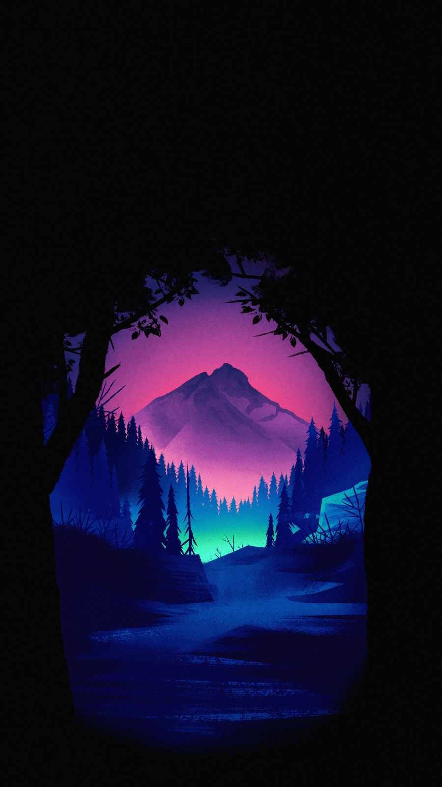 Amoled Forest iPhone Wallpaper
