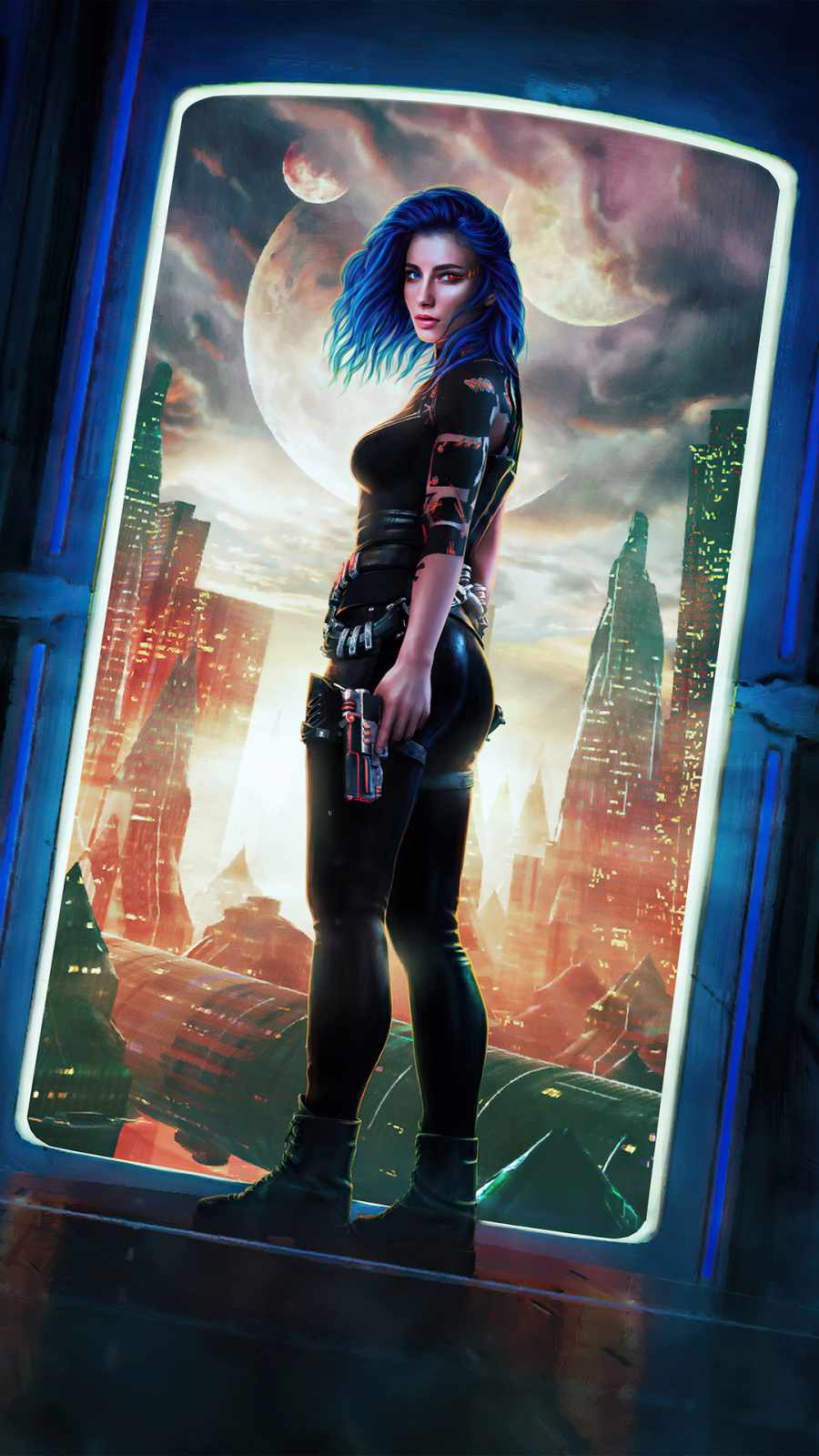 Blue hair girl scifi city with guns in hand