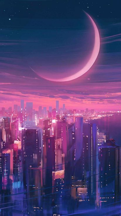 Cityscape Synthwave iPhone Wallpaper