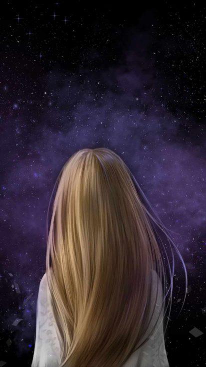 Galactic Girl iPhone Wallpaper