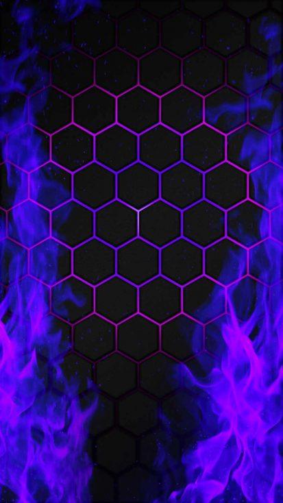 Hexagon Fire iPhone Wallpaper