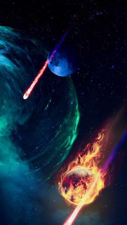 Meteor Rain in Space