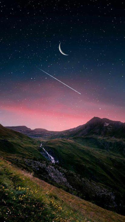 Mountain Sunset Starry Sky