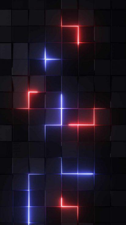 Neon Blocks iPhone Wallpaper