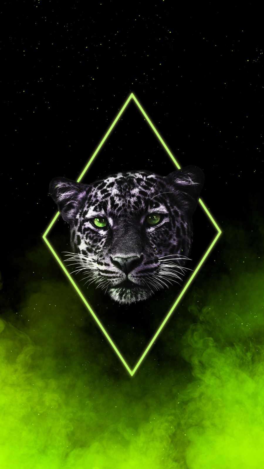 Neon Jaguar iPhone Wallpaper