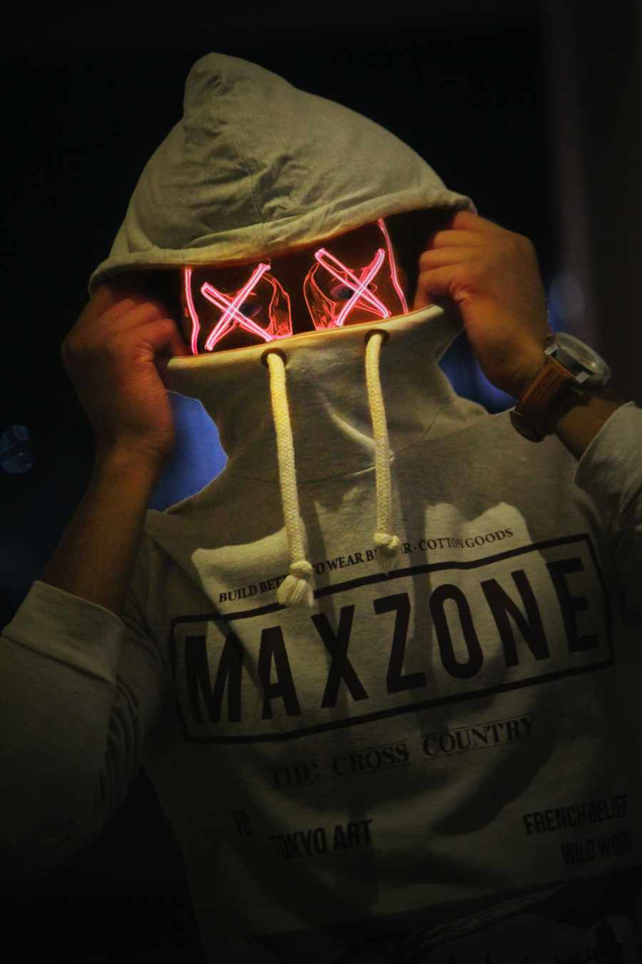 Neon Mask in Hoodie