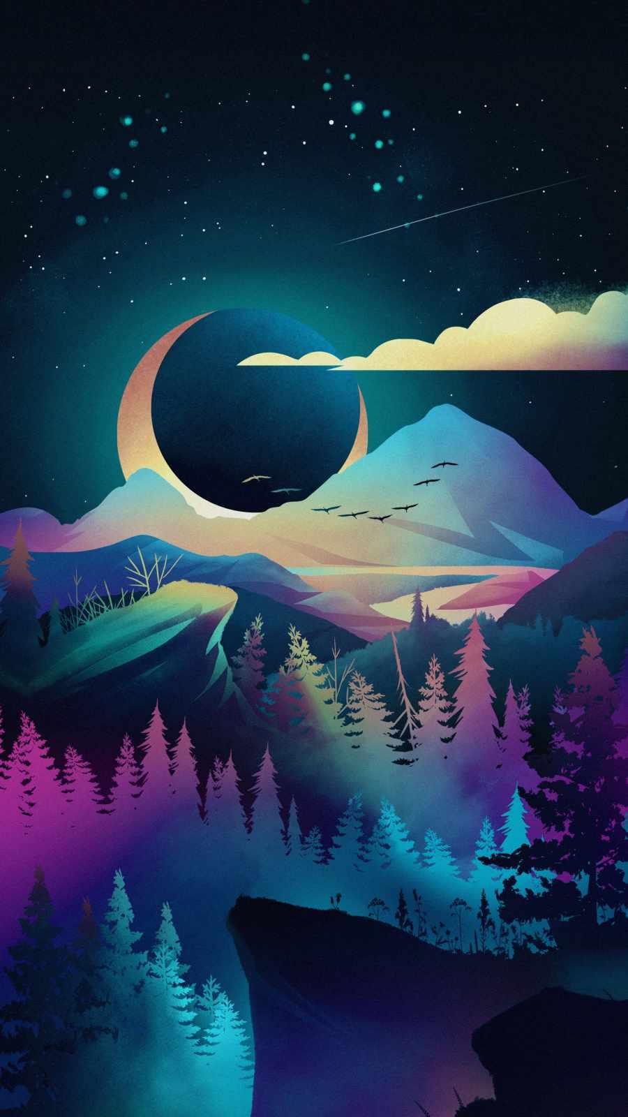 Night Forest Art iPhone Wallpaper