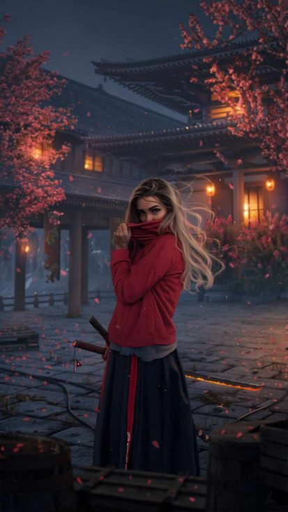 Ninja Girl iPhone Wallpaper
