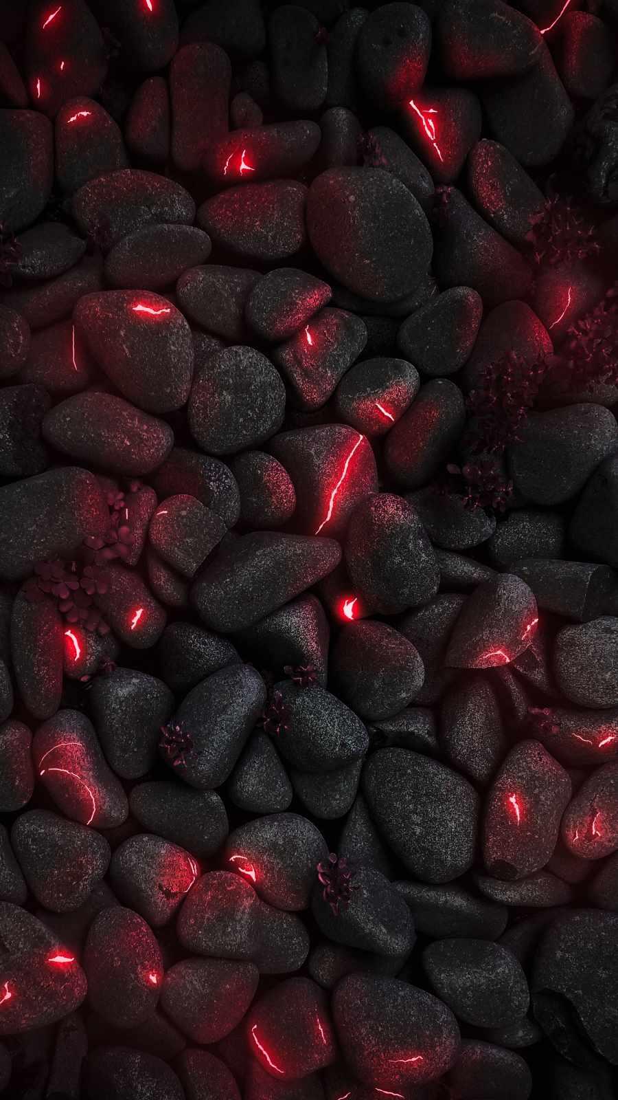 Red Neon Stones iPhone Wallpaper