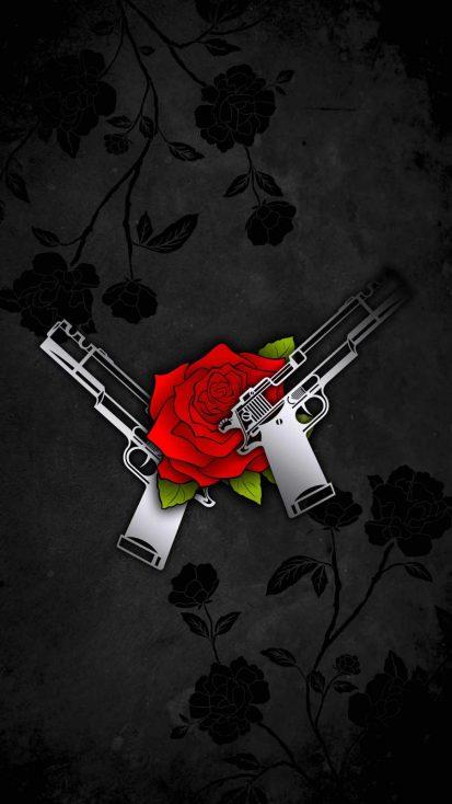 Rose and Guns iPhone Wallpaper