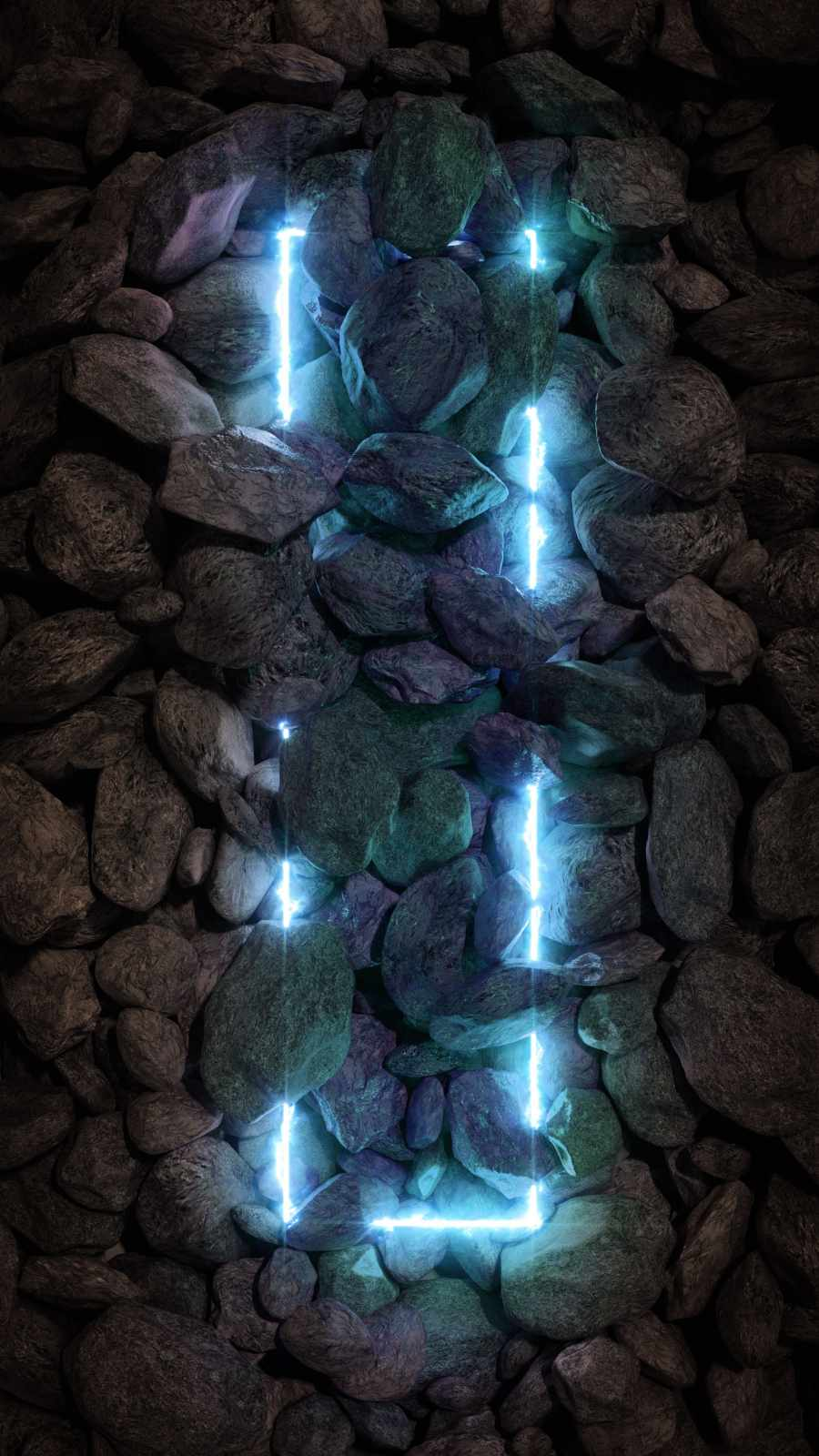 Stone Neon Light iPhone Wallpaper