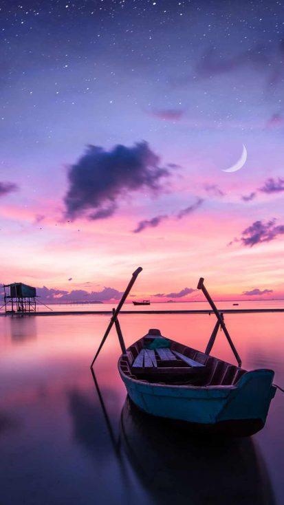 Sunset Boat Ocean iPhone Wallpaper
