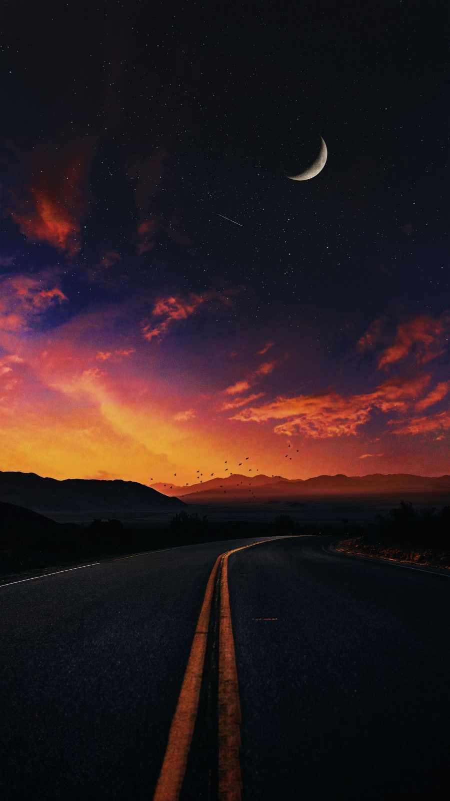 Sunset Road iPhone Wallpaper