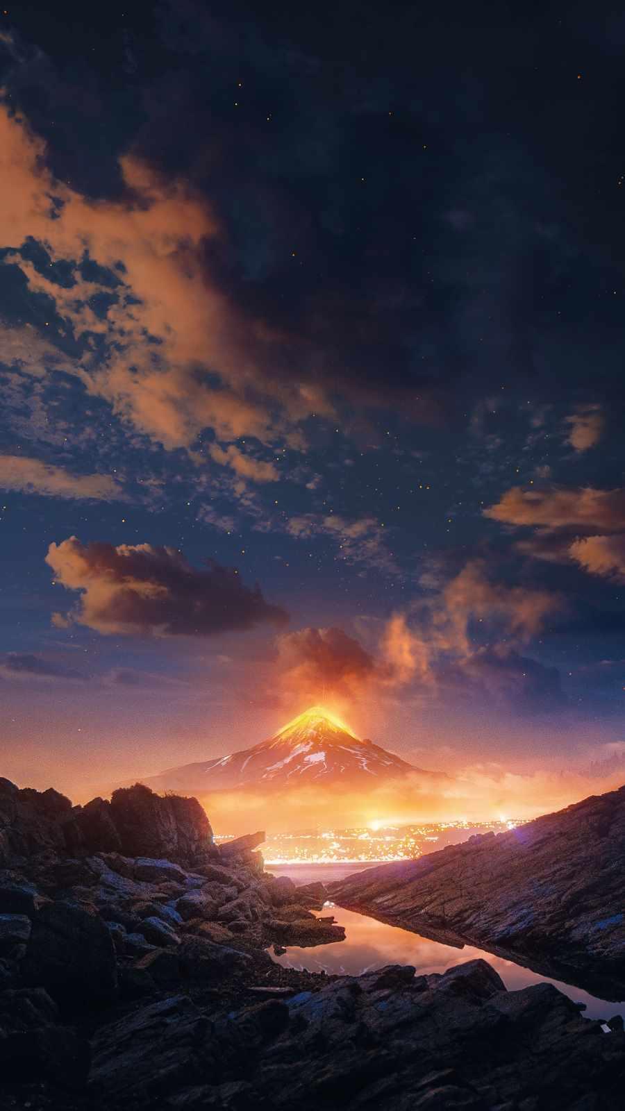 Volcanic Mountain iPhone Wallpaper
