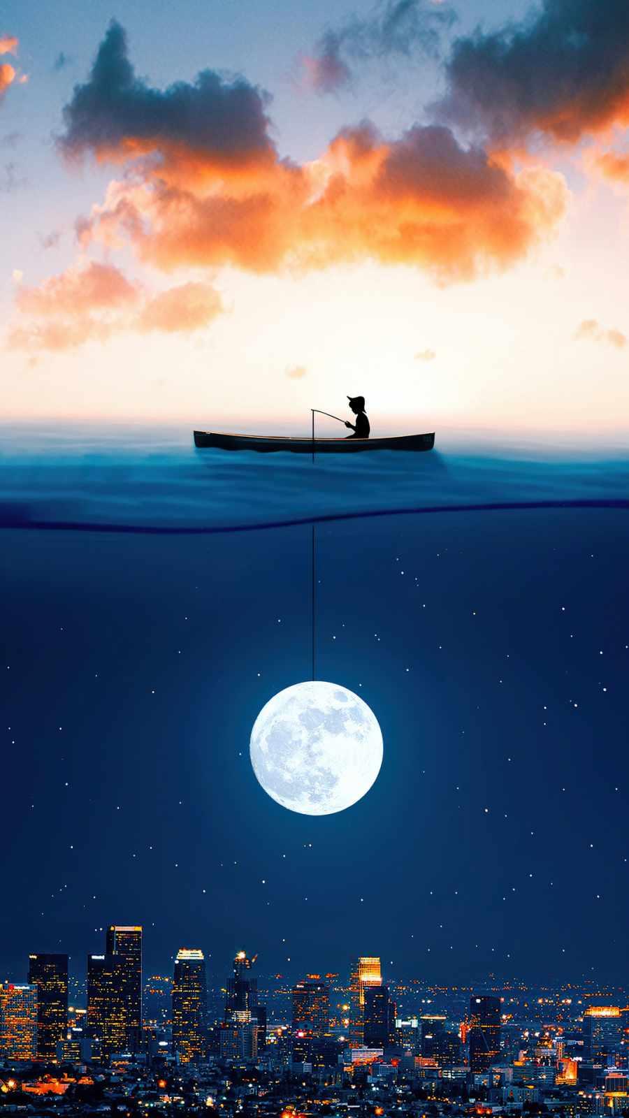catching the moon in ocean
