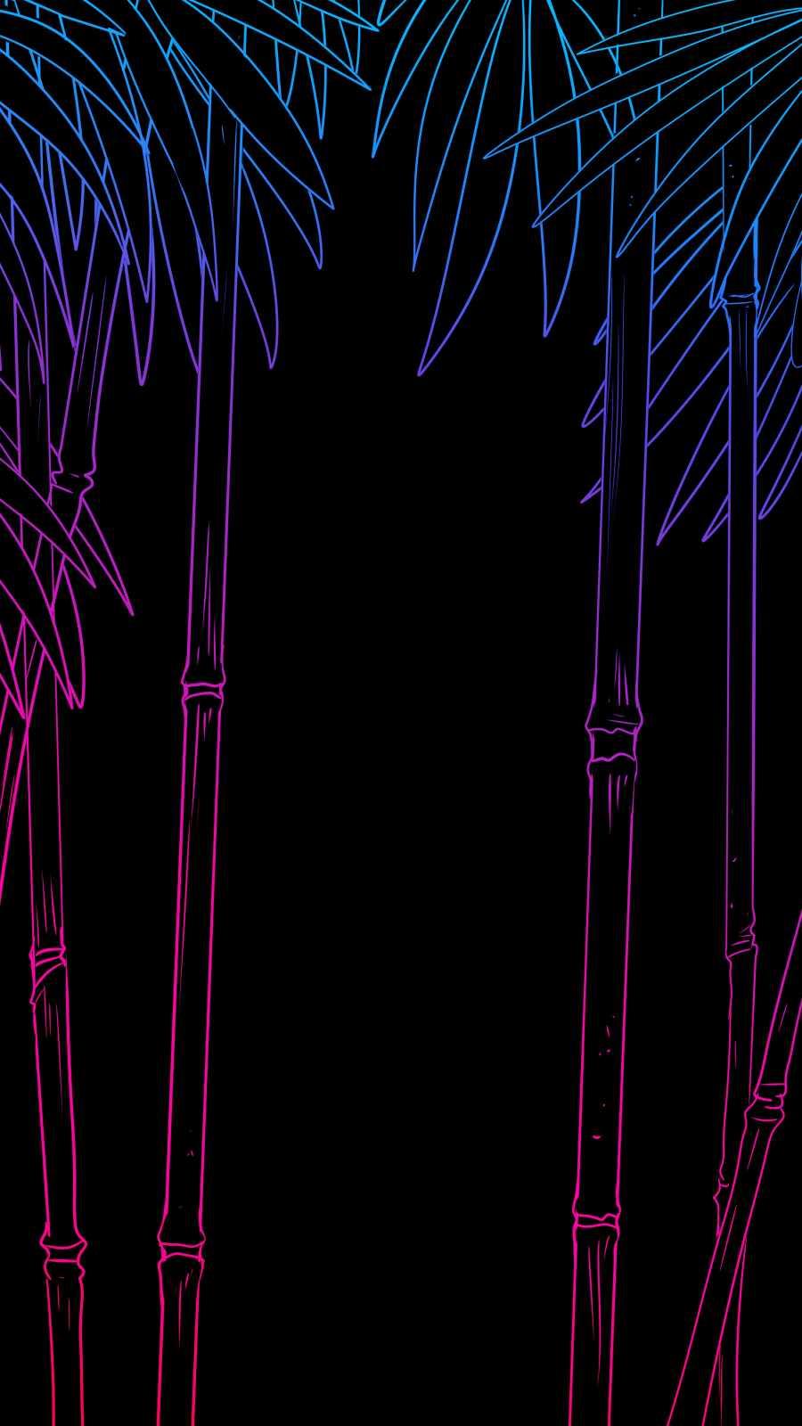 Amoled Bamboo Tree iPhone Wallpaper