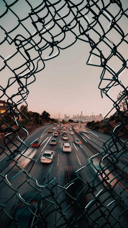 Freeway to City iPhone Wallpaper