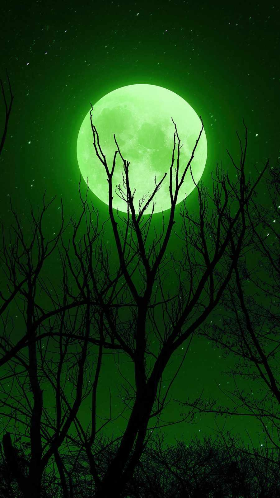 Full moon Green iPhone Wallpaper