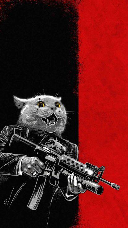 Gangster Cat iPhone Wallpaper