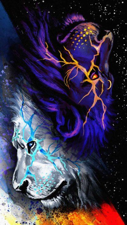 Lion Art iPhone Wallpaper