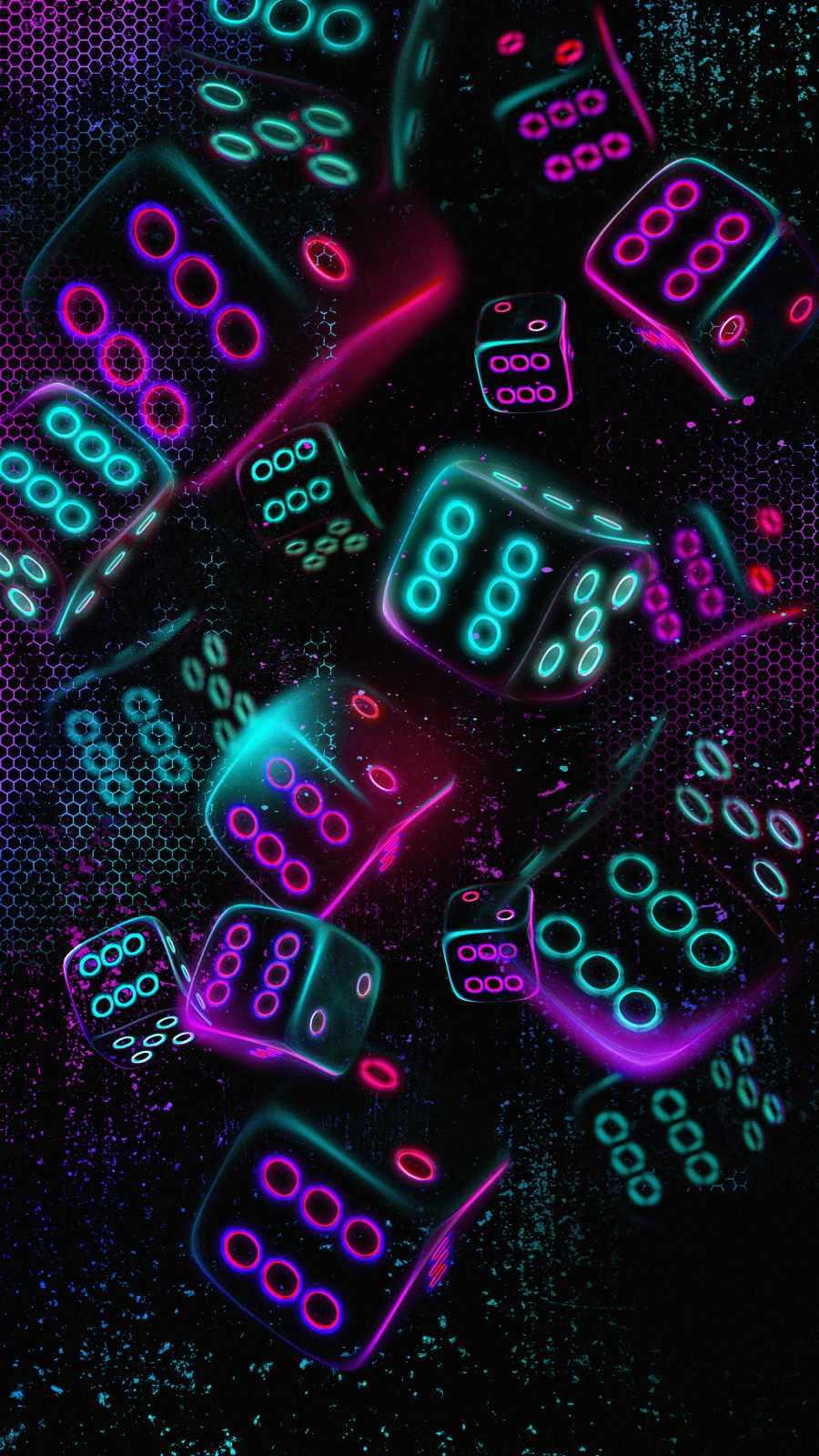 Neon Dices iPhone Wallpaper