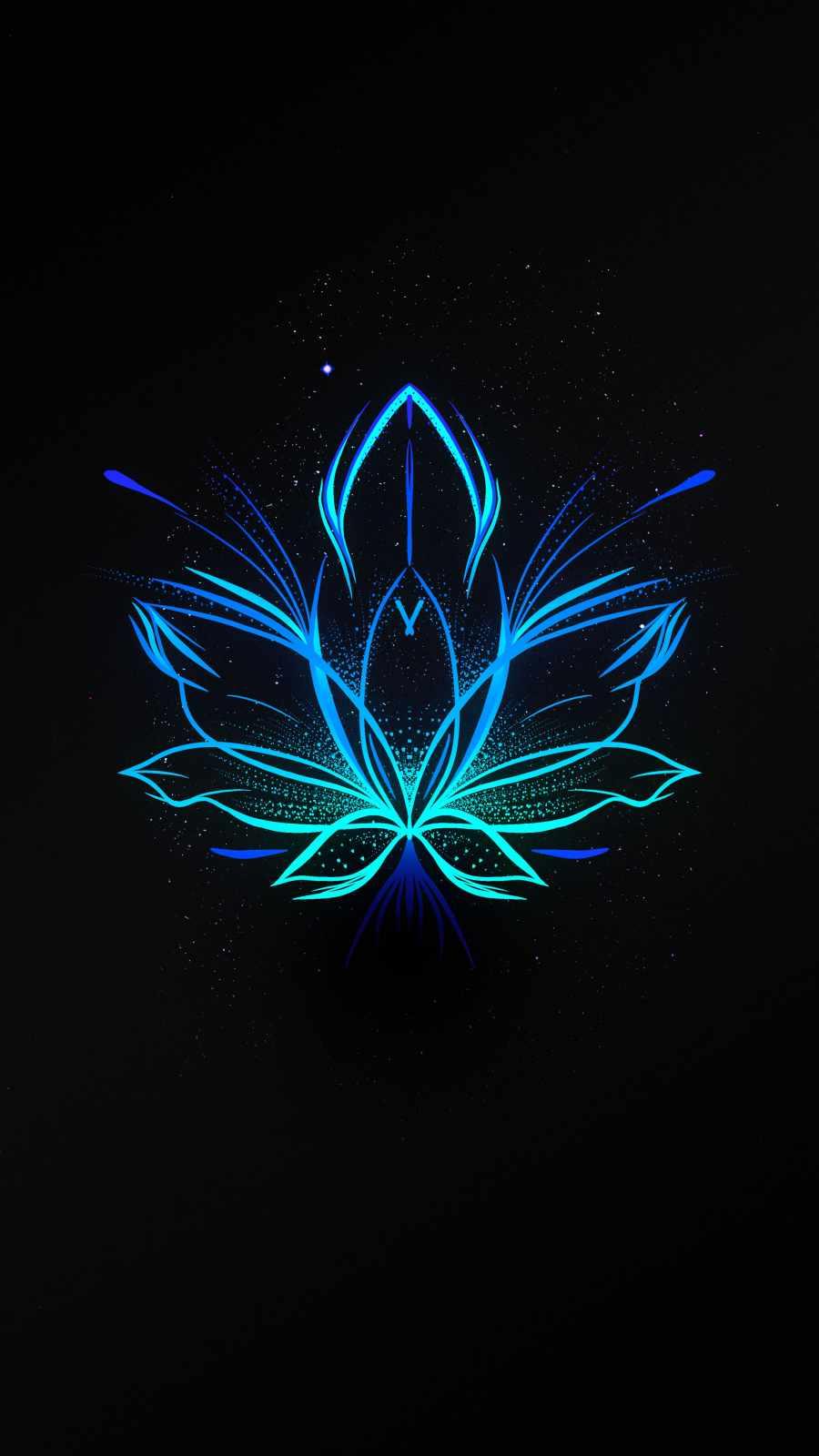 Neon Flower Amoled iPhone Wallpaper