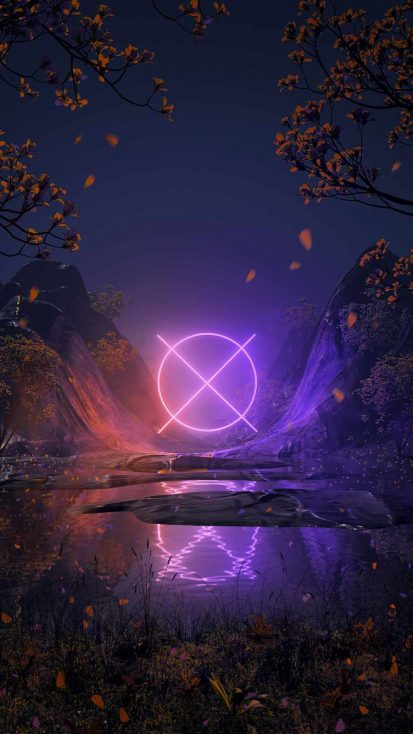 Neon Light in Forest