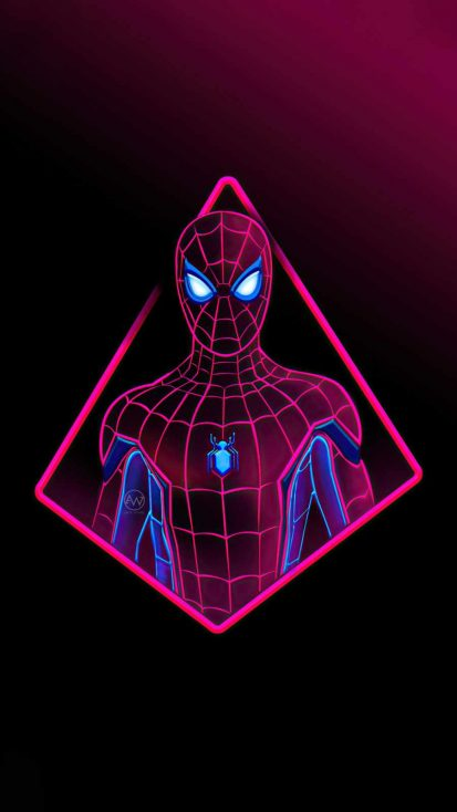 Neon Spiderman 4k