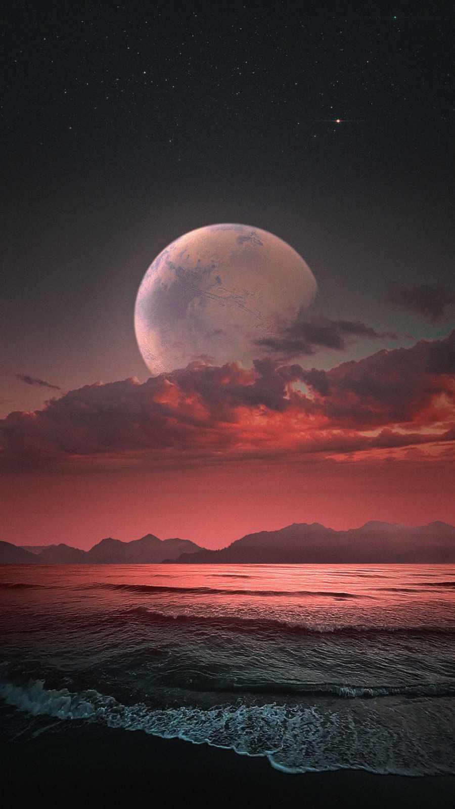 Ocean Moon iPhone Wallpaper