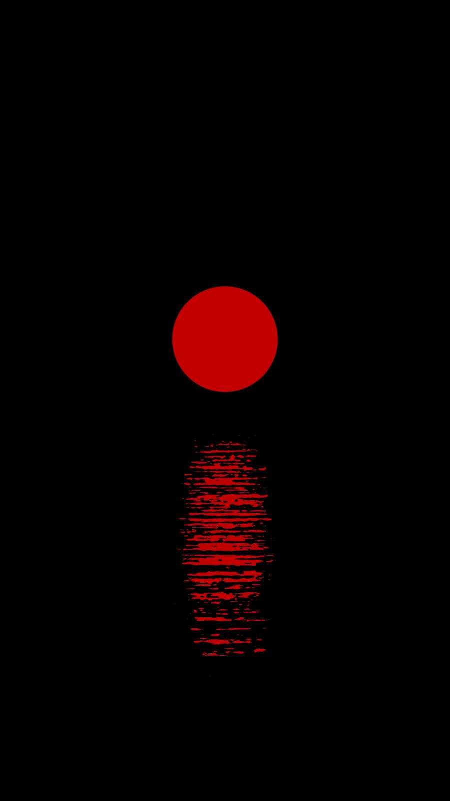 Red Moon Over Sea