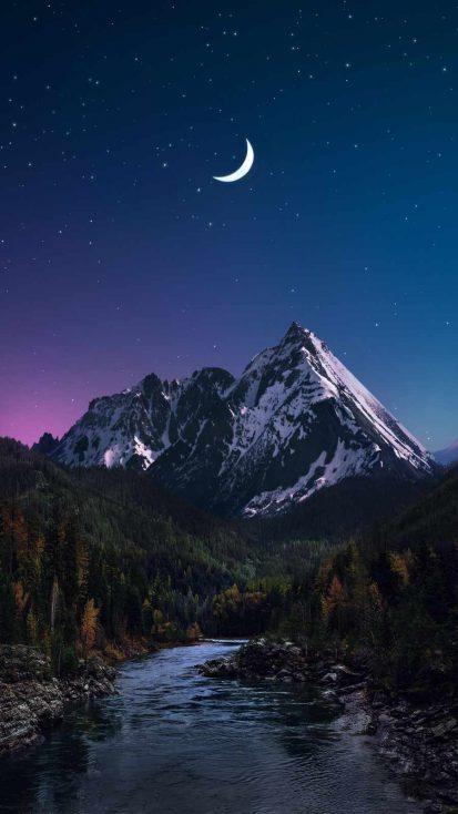 Snow Peaks in Night
