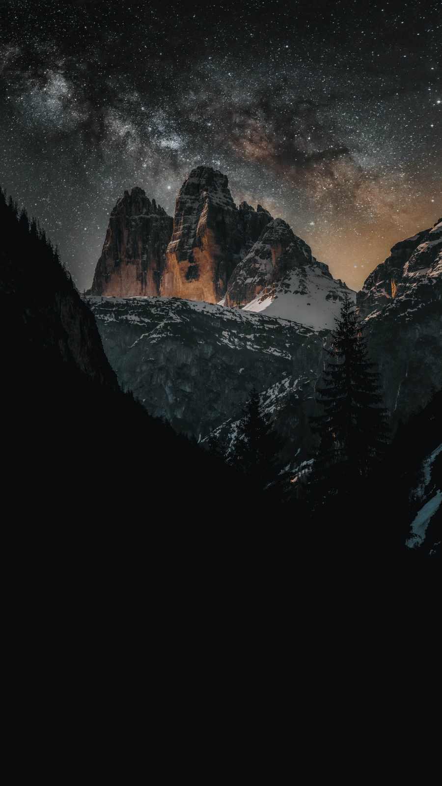 Starry Sky Mountain Snow