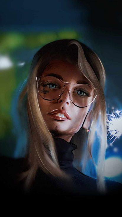 Girl in Specs iPhone Wallpaper