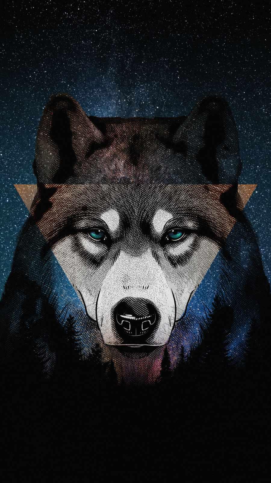Husky Dog Art iPhone Wallpaper