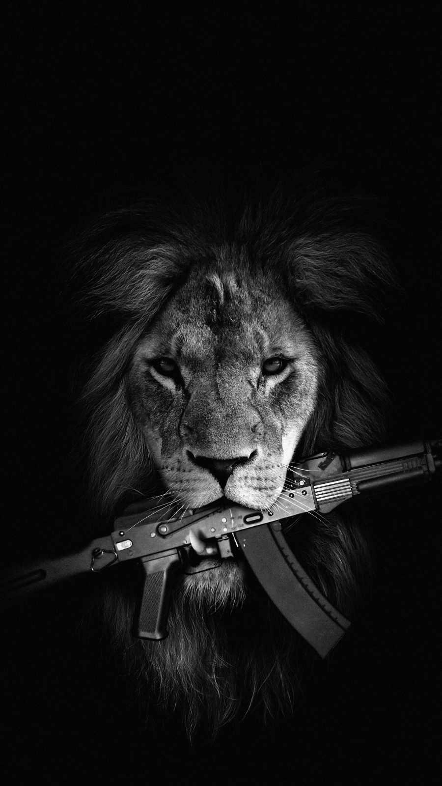 Lion with Gun iPhone Wallpaper