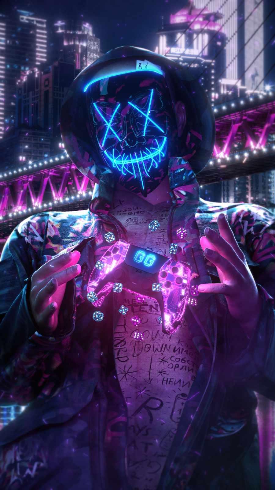 Neon Gamer iPhone Wallpaper