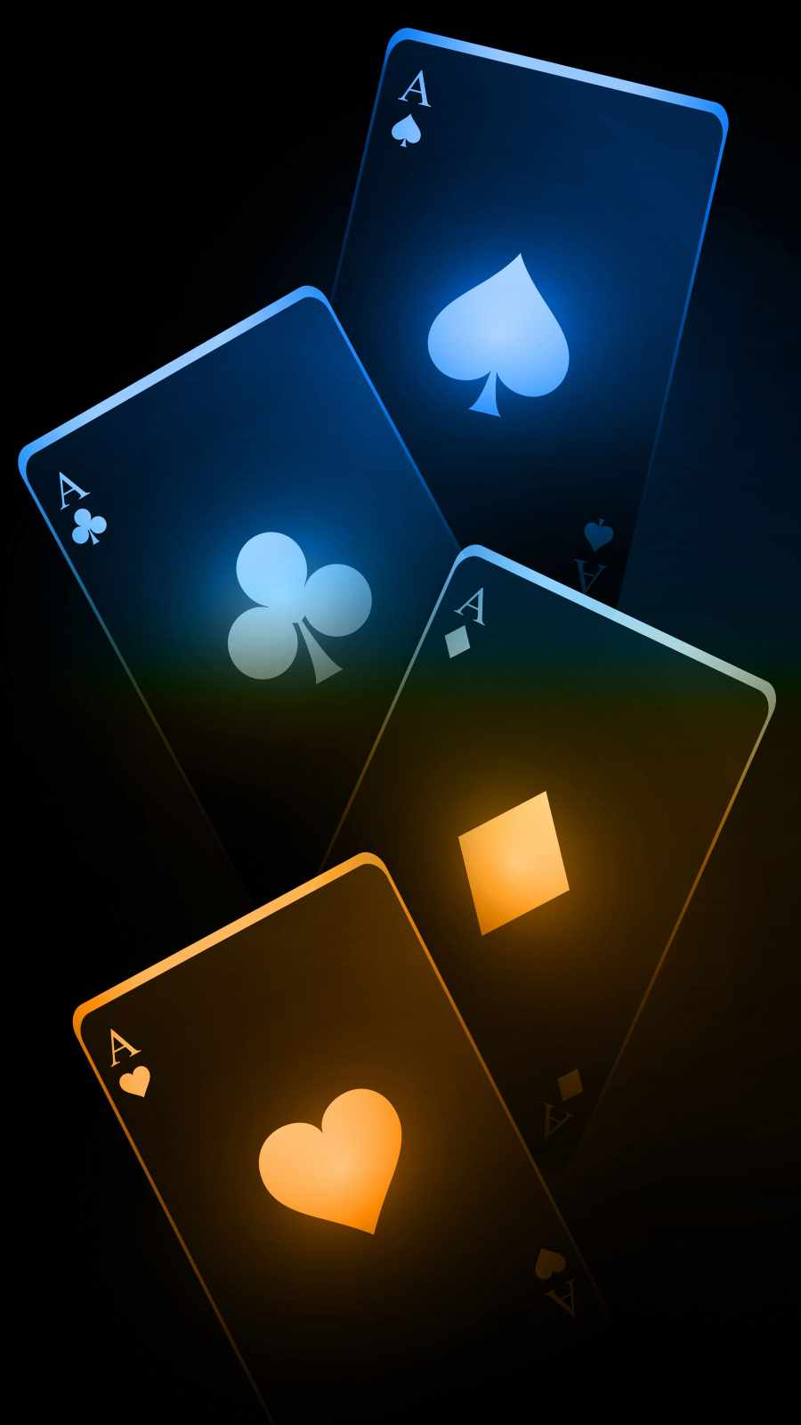 Neon Poker Ace Cards