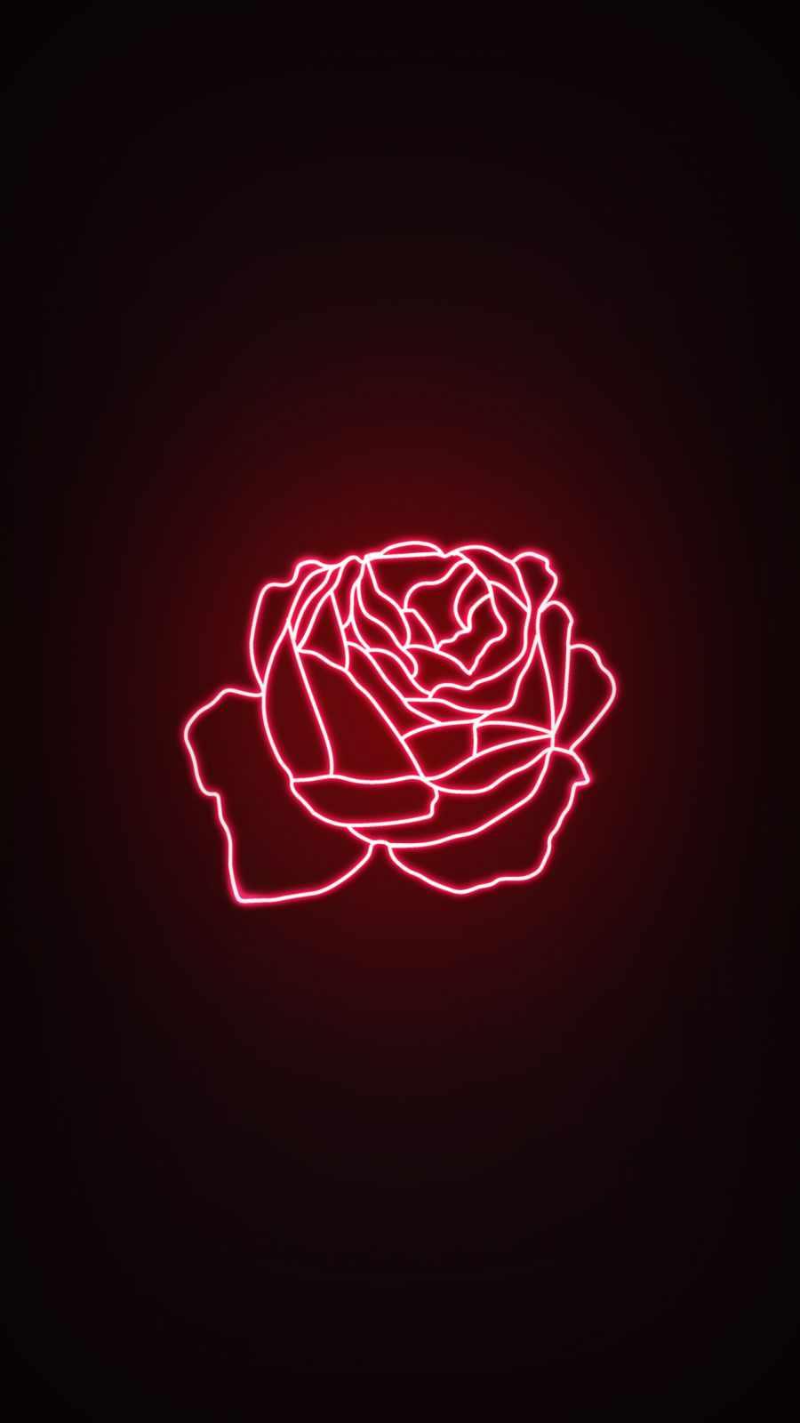 Neon Rose iPhone Wallpaper