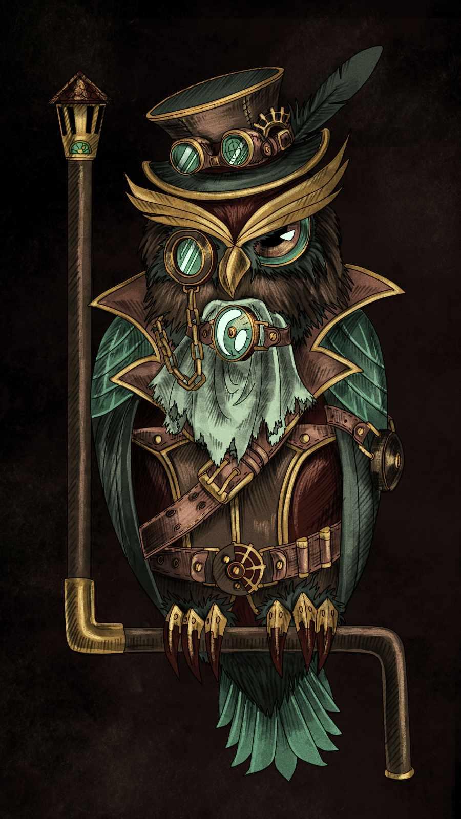 Retro Owl iPhone Wallpaper