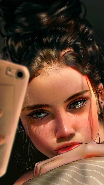 Selfie Girl iPhone Wallpaper